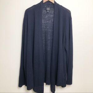 Eileen Fisher 100% Linen Textured Navy Cardigan